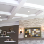 Great Room - Coffered celing with dry stack double crown molding - Anthony Thomas Builders