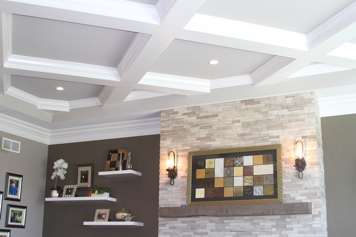 great room coffered celing with dry stack double crown molding anthony thomas builders