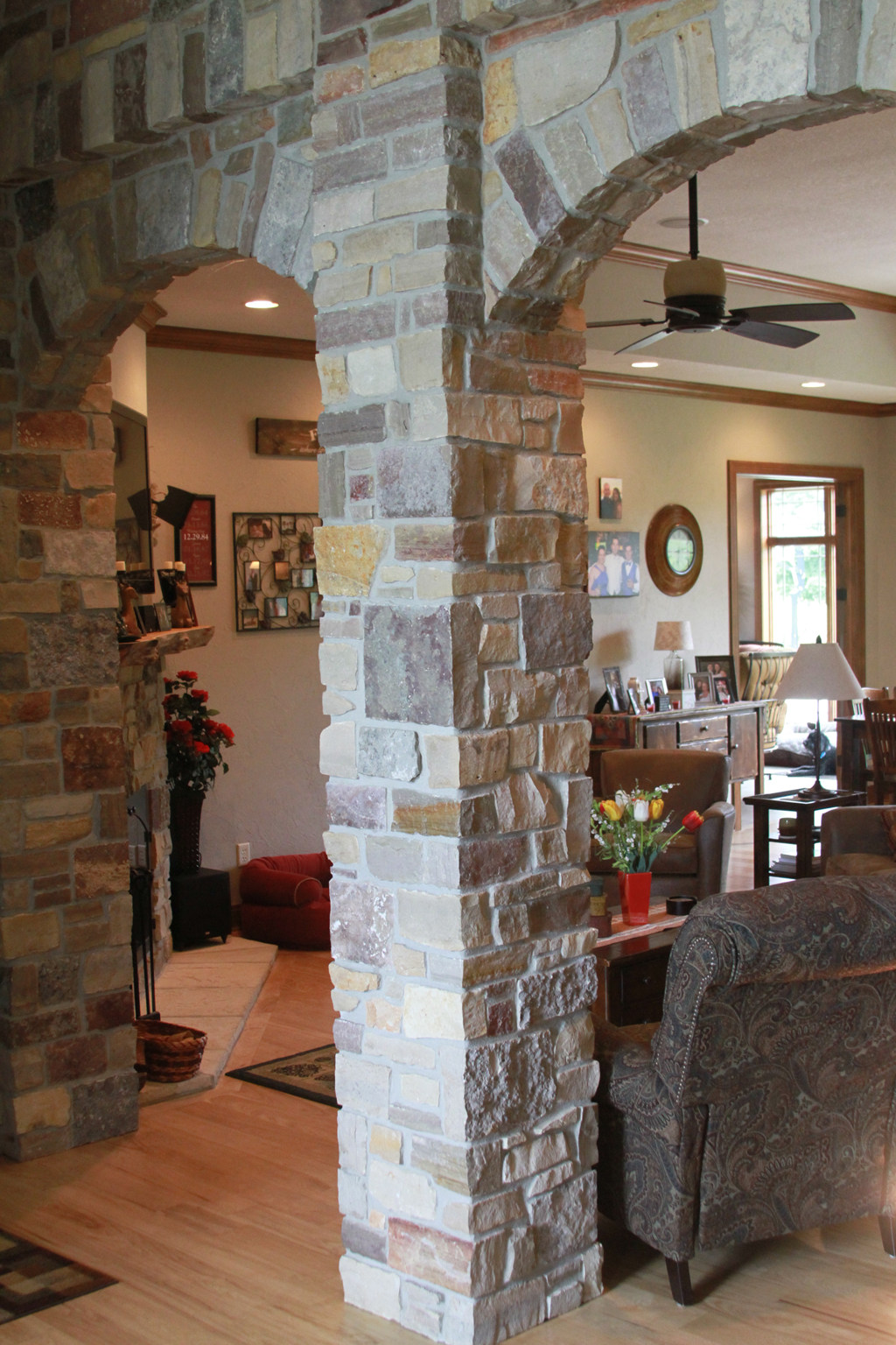 Foyer Entrance With Stone Columns And Arches