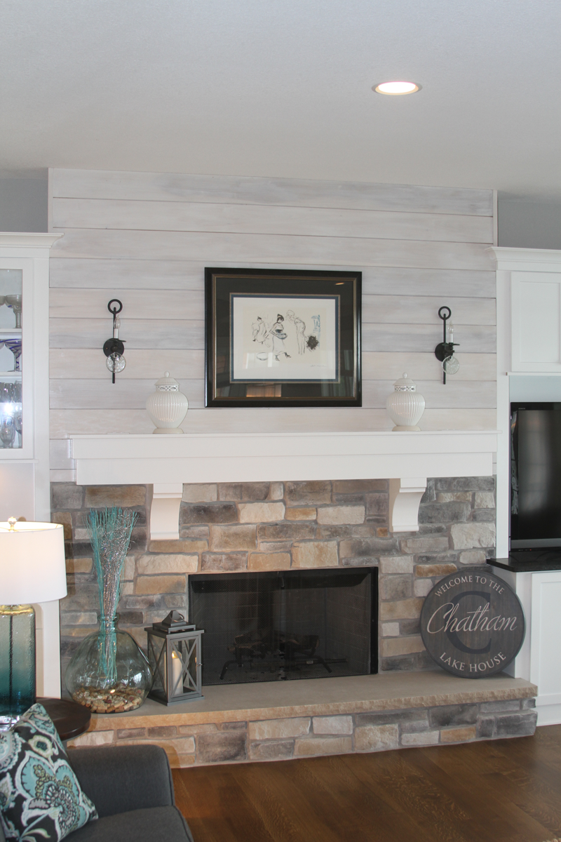 Great Room With Shiplap And Stone Fireplace Anthony