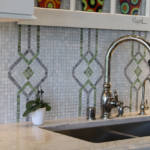 Kitchen with tile back splash, stainless steel faucet - Anthony Thomas Builders