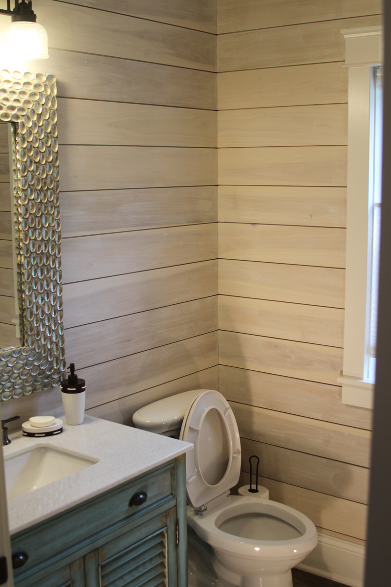 Bathroom with shiplap wall anthony thomas builders for Bathroom builders