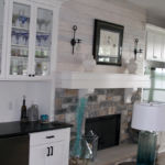 Great toom with home bar, stone fireplace shiplap - Anthony Thomas Builders