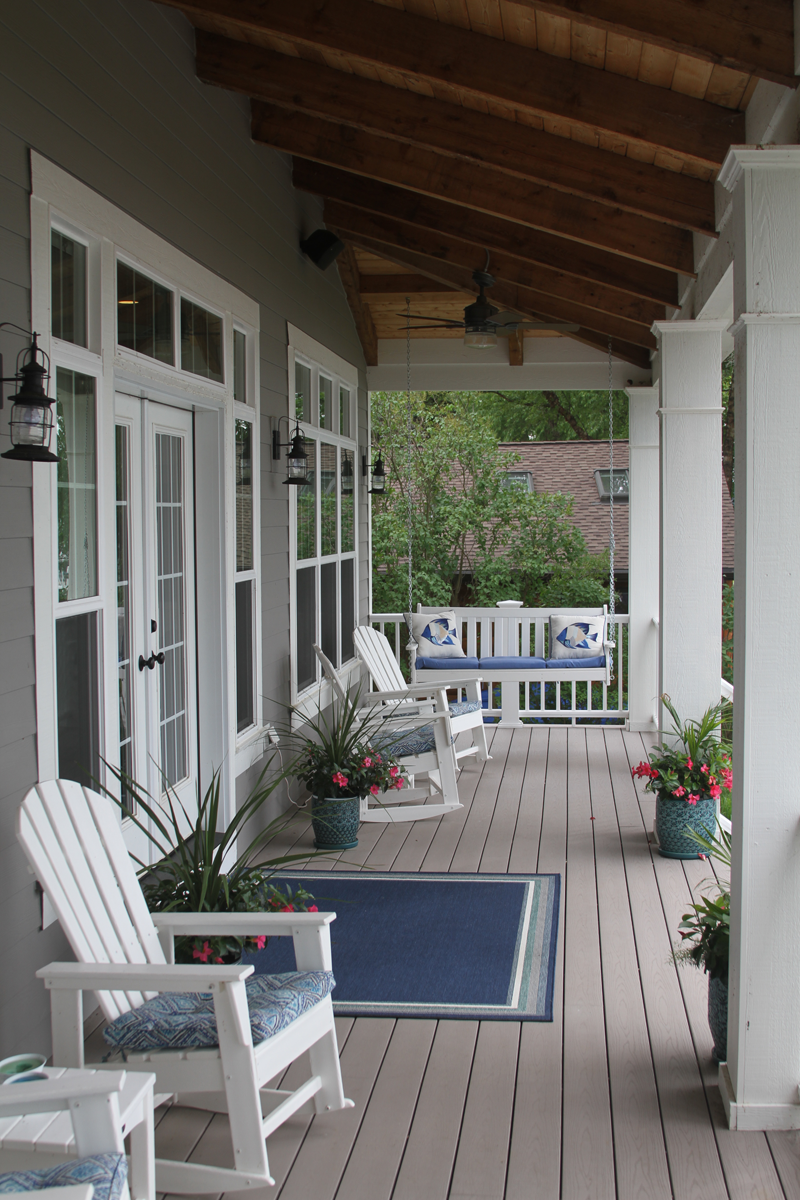 Sitting Porch With Ceiling Fan And Stained Wood Anthony Thomas Builders