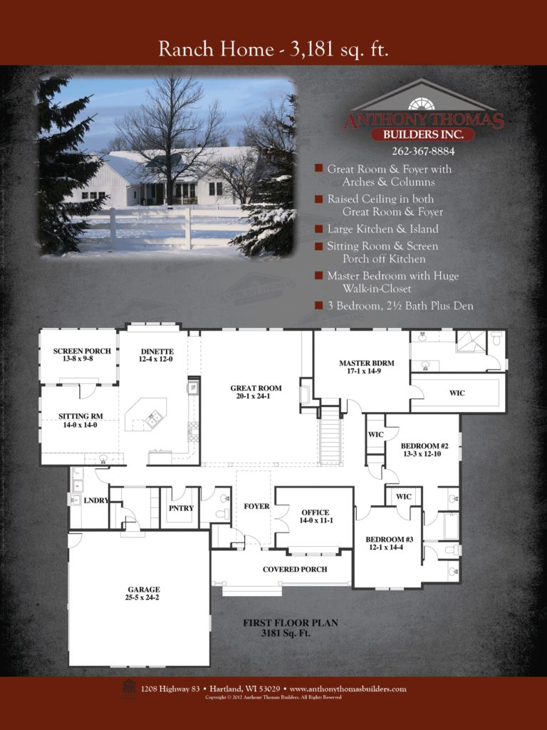 Ranch Home - 3181 sq ft Anthony Thomas Builders